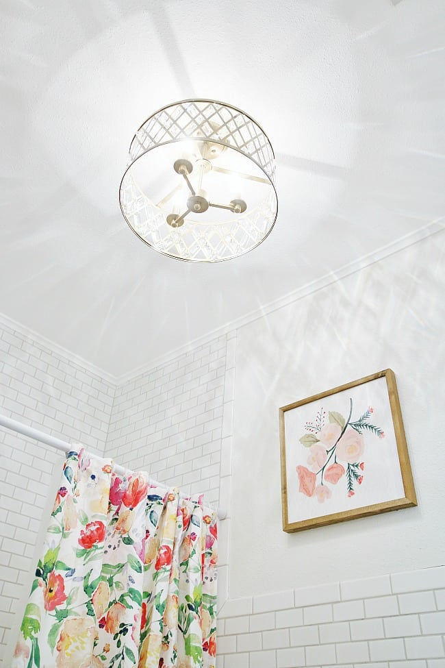 I fell in love with this light fixture and knew it would be perfect in the updated bathroom.