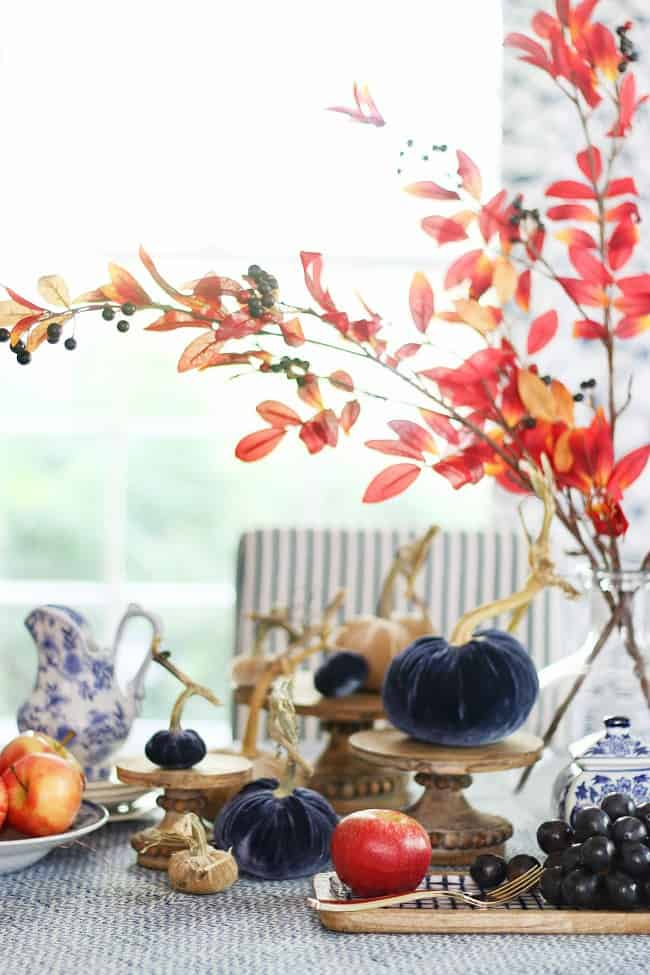 decorate for fall with velvet pumpkins and leaves