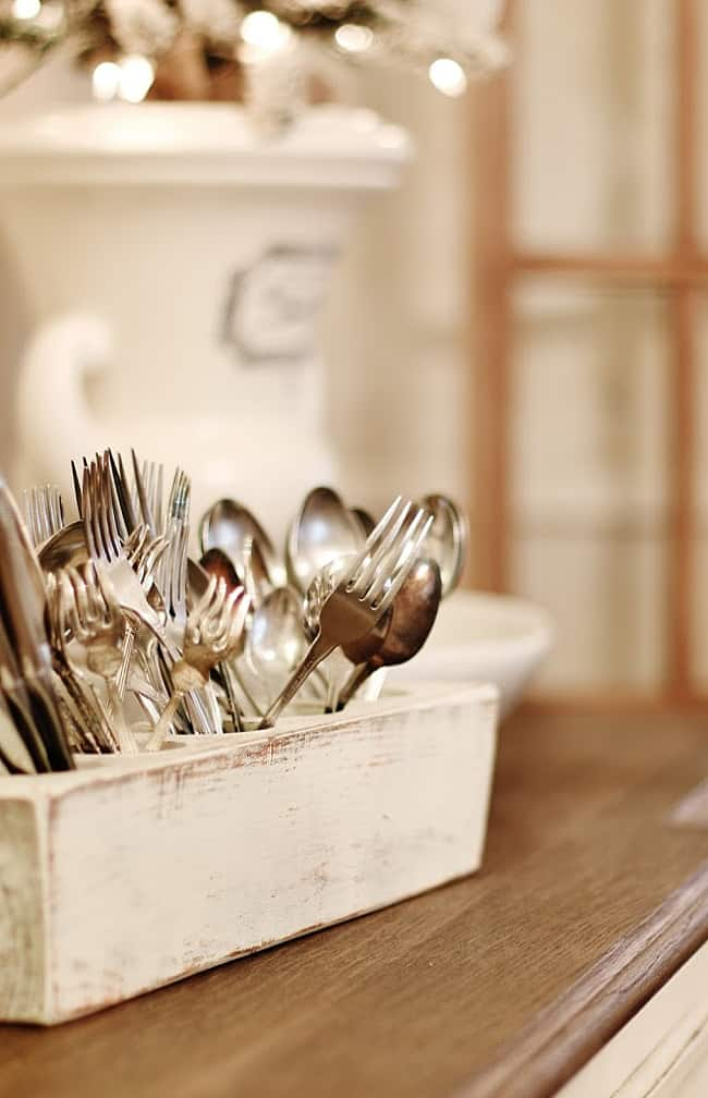 Christmas cottage silverware dining room