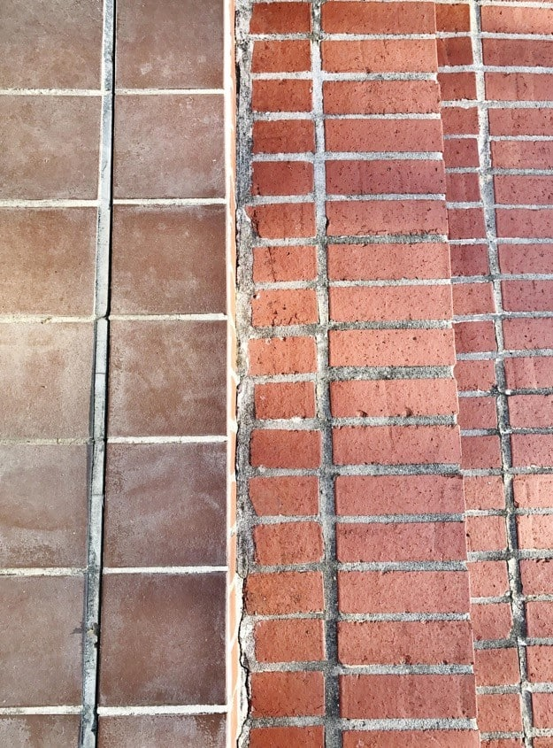 painted brick steps before bricks