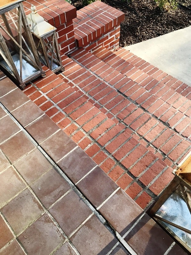 painted brick steps two different types of brick