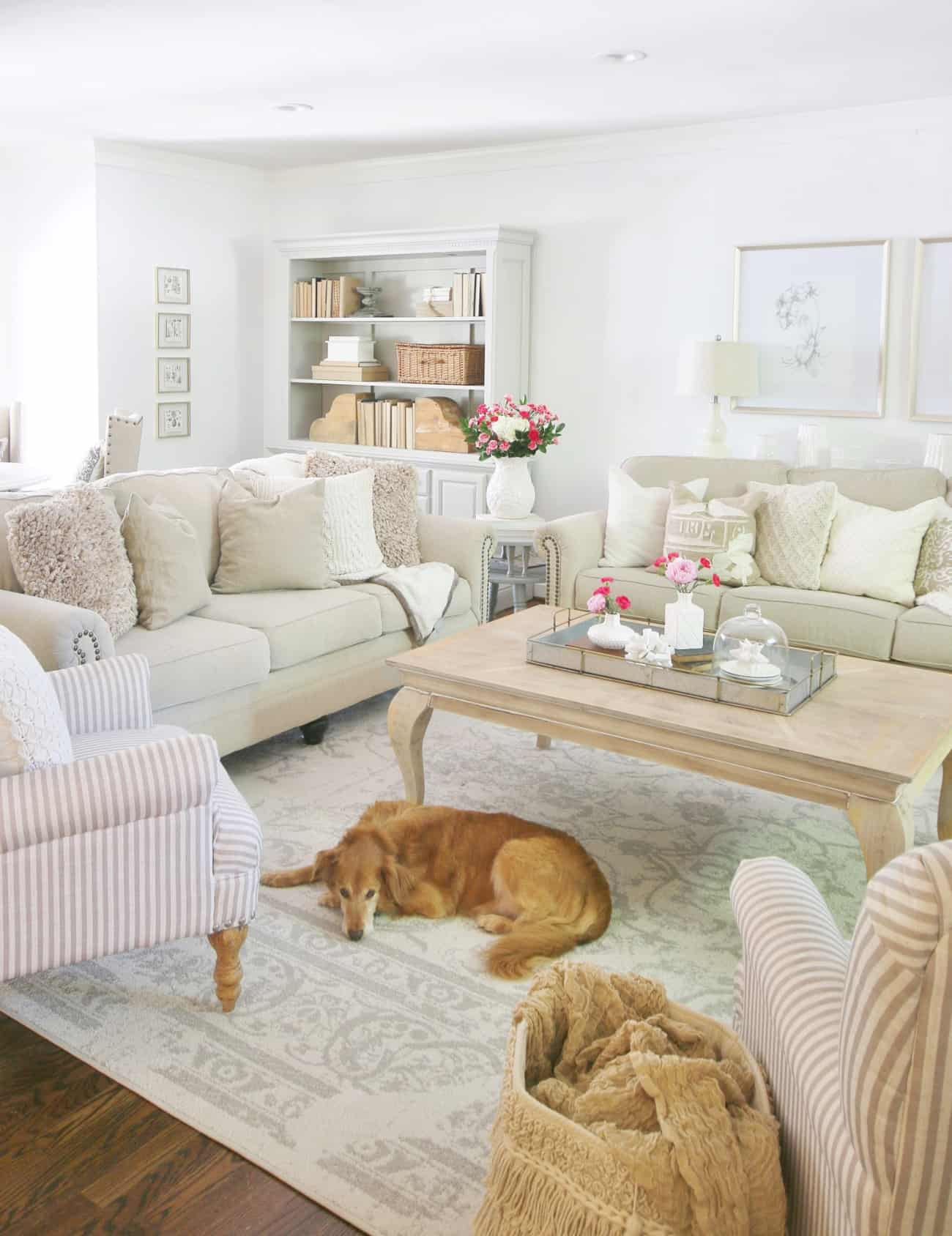 khaki couches and flowers and summer decorating ideas for the living room