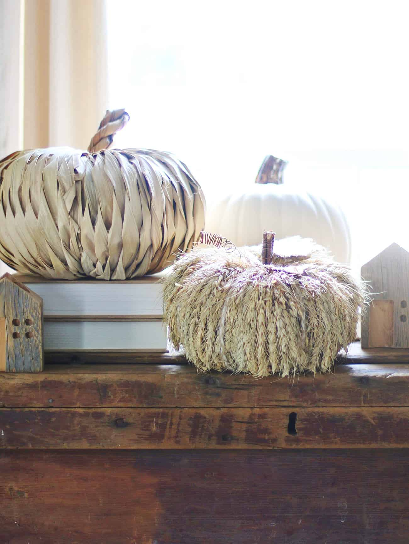 favorite faux pumpkins straw