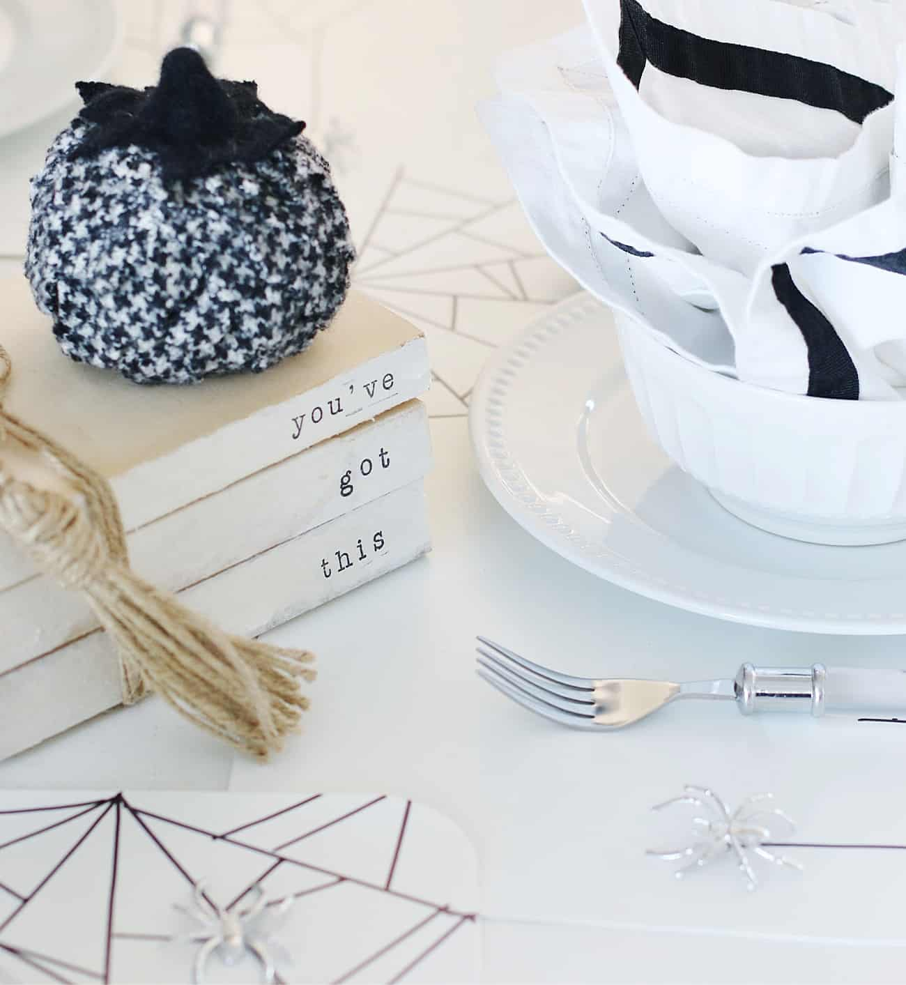 Dollar Store Halloween Decor place setting