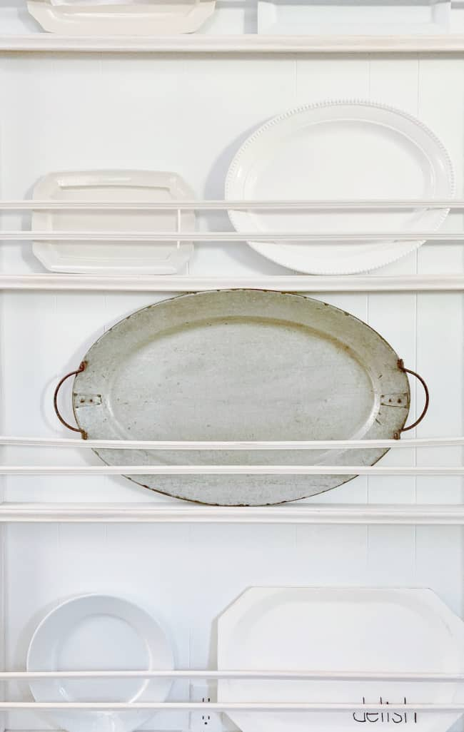 vintage platters in the kitchen
