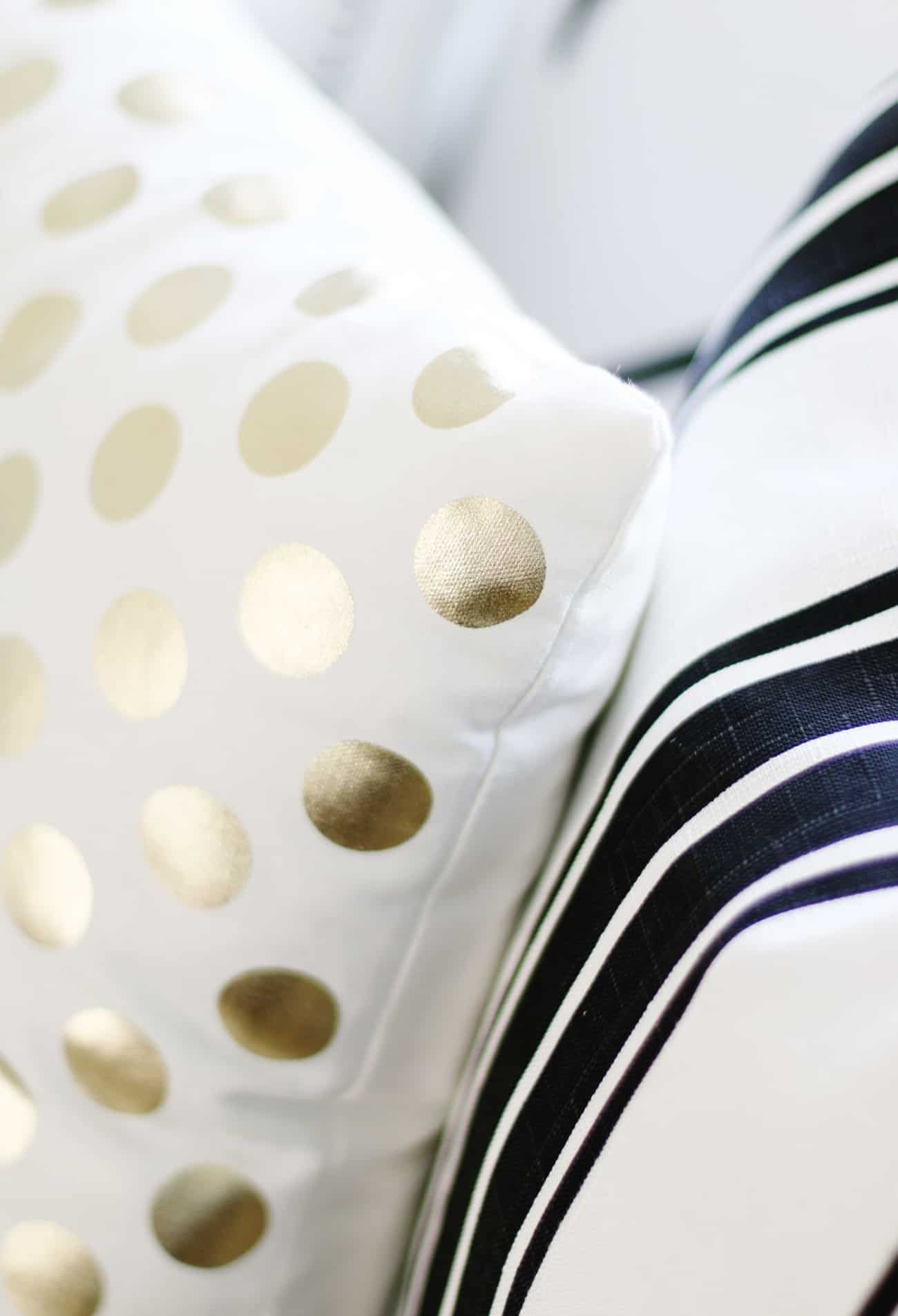 black and white decor ideas gold pillow with dots