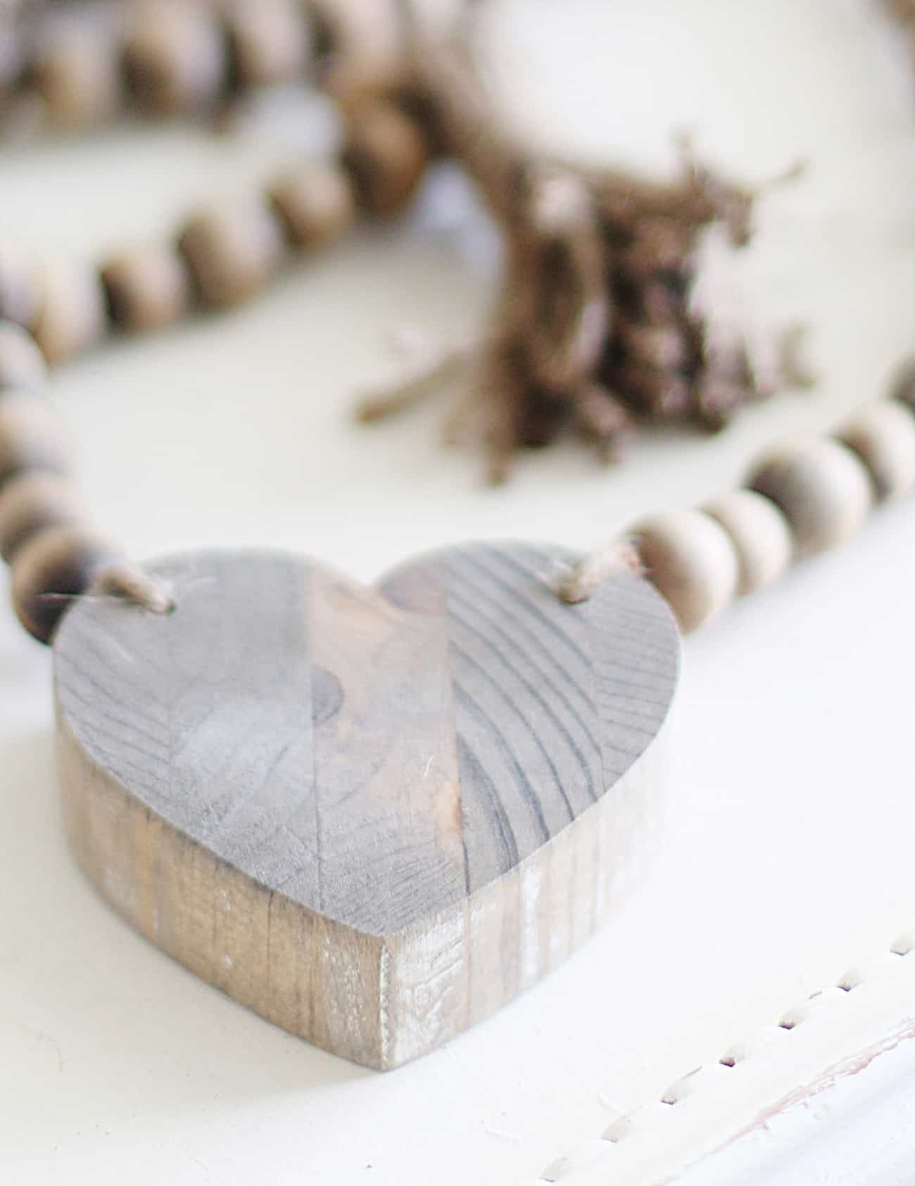DIY wood bead garland heart