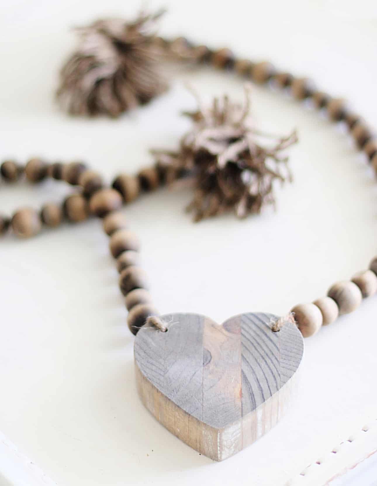 Diy Wood Bead Garland With Heart Thistlewood Farm