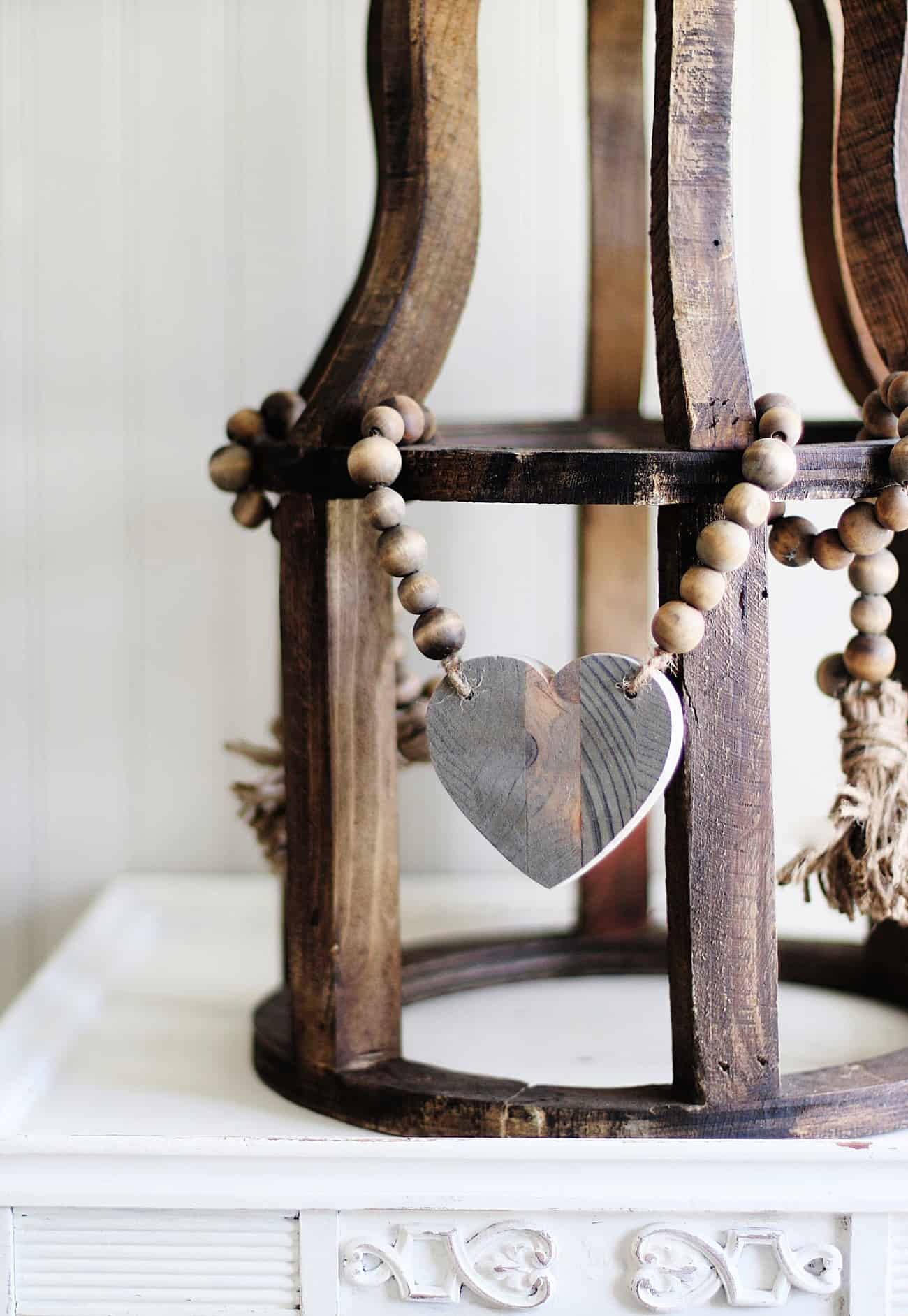 Diy Wood Bead Garland With Heart Thistlewood Farm