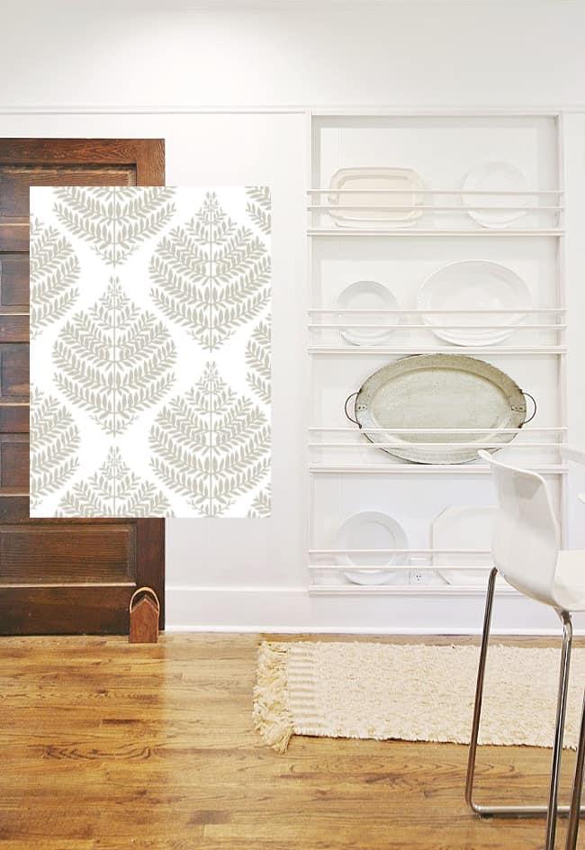 kitchen project DIY plate rack leaf wallpaper