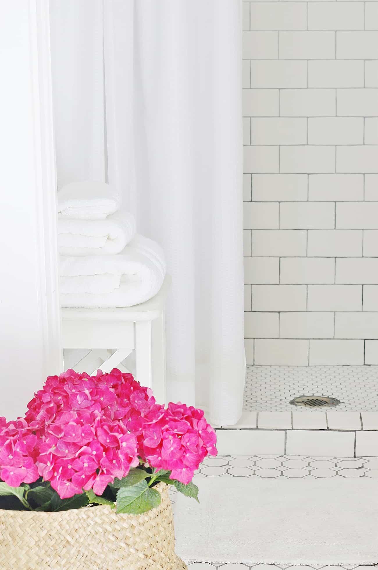 summer bathroom refresh with hydrangeas