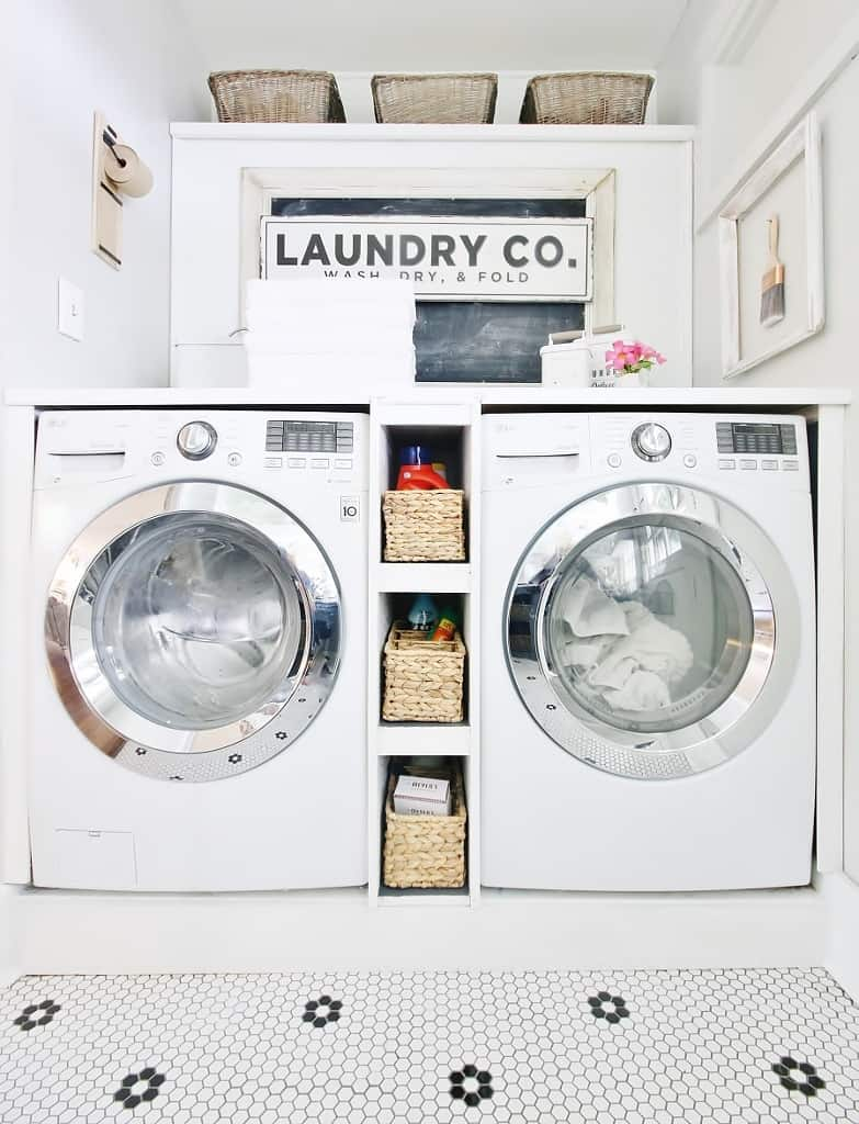 storage ideas for laundry room washer and dryer