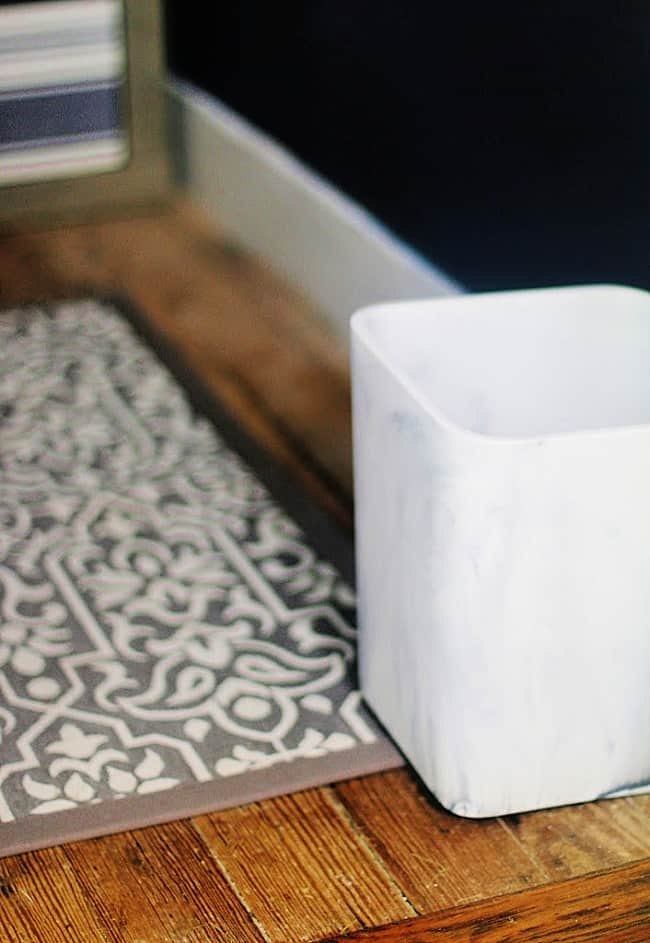 how to maximize space faux marble trashcan