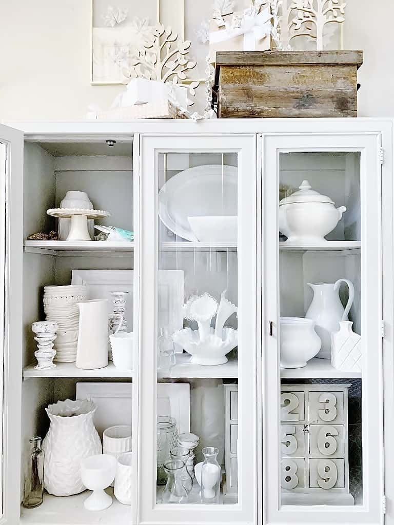 decorating with thrift store finds before of hutch