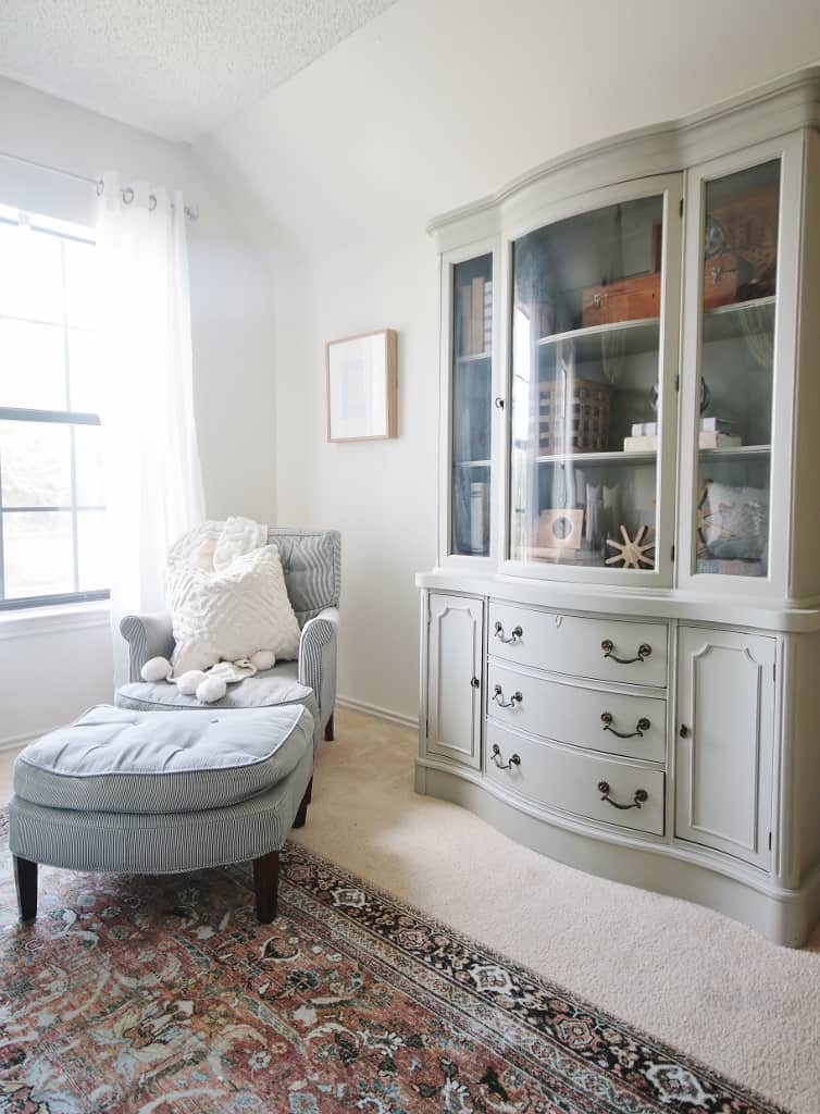 corner chair and bookcase