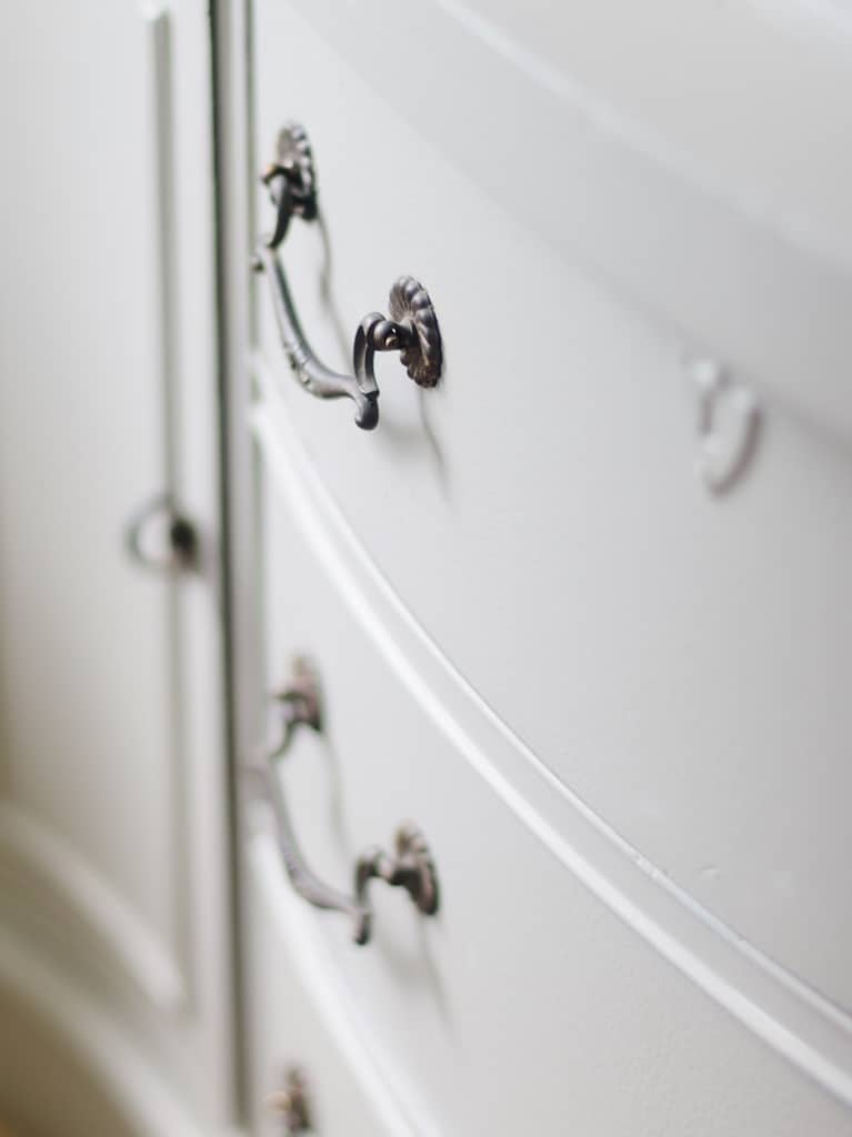 close up view of dresser handle